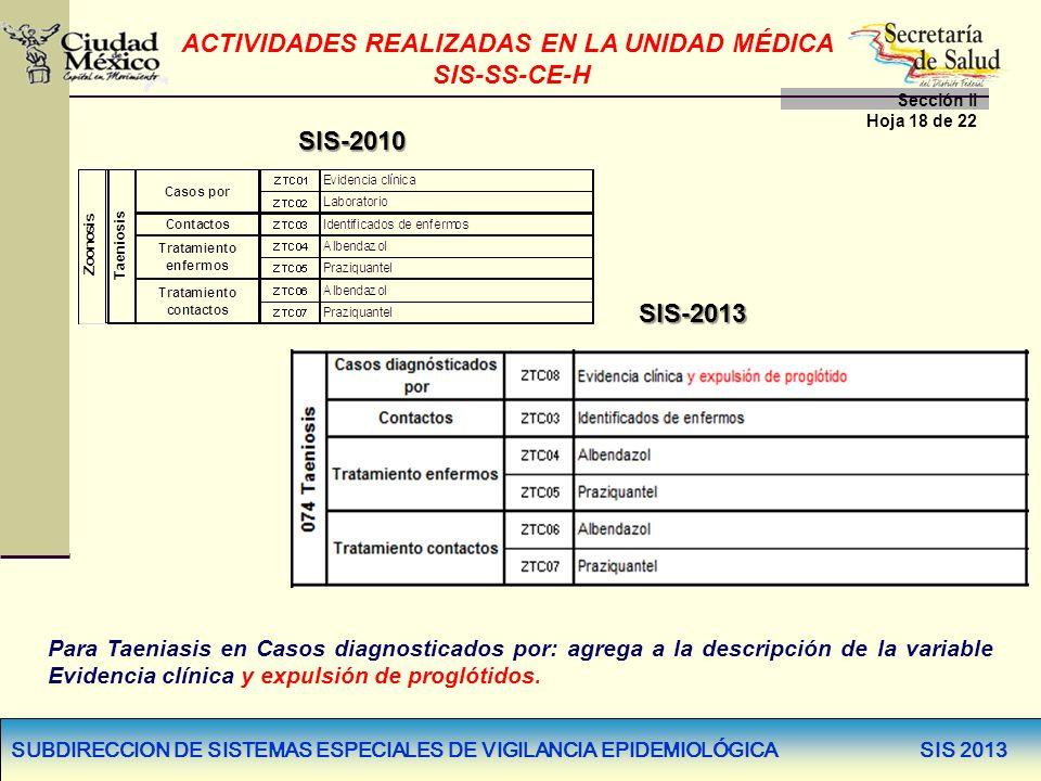 SUBDIRECCION DE SISTEMAS ESPECIALES DE VIGILANCIA EPIDEMIOLÓGICA SIS 2013 SIS-2010 SIS-2013 Para Taeniasis en Casos diagnosticados por: agrega a la de