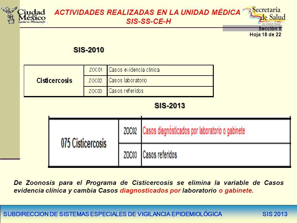 SUBDIRECCION DE SISTEMAS ESPECIALES DE VIGILANCIA EPIDEMIOLÓGICA SIS 2013 SIS-2010 SIS-2013 De Zoonosis para el Programa de Cisticercosis se elimina l