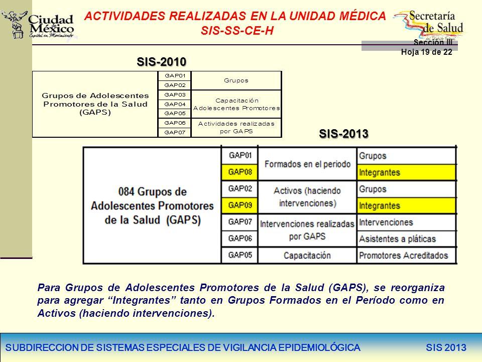 SUBDIRECCION DE SISTEMAS ESPECIALES DE VIGILANCIA EPIDEMIOLÓGICA SIS 2013 SIS-2010 SIS-2013 Para Grupos de Adolescentes Promotores de la Salud (GAPS),