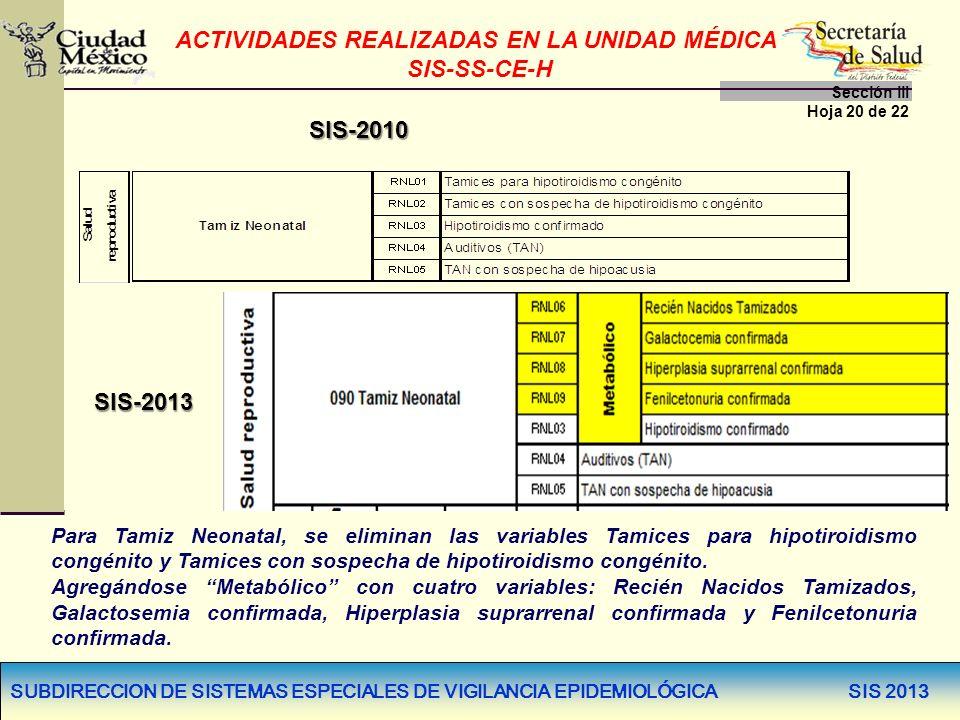 SUBDIRECCION DE SISTEMAS ESPECIALES DE VIGILANCIA EPIDEMIOLÓGICA SIS 2013 SIS-2010 SIS-2013 Para Tamiz Neonatal, se eliminan las variables Tamices par