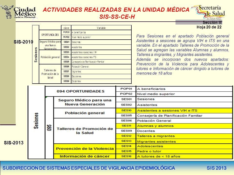 SUBDIRECCION DE SISTEMAS ESPECIALES DE VIGILANCIA EPIDEMIOLÓGICA SIS 2013 ACTIVIDADES REALIZADAS EN LA UNIDAD MÉDICA SIS-SS-CE-H Sección llI Hoja 20 d