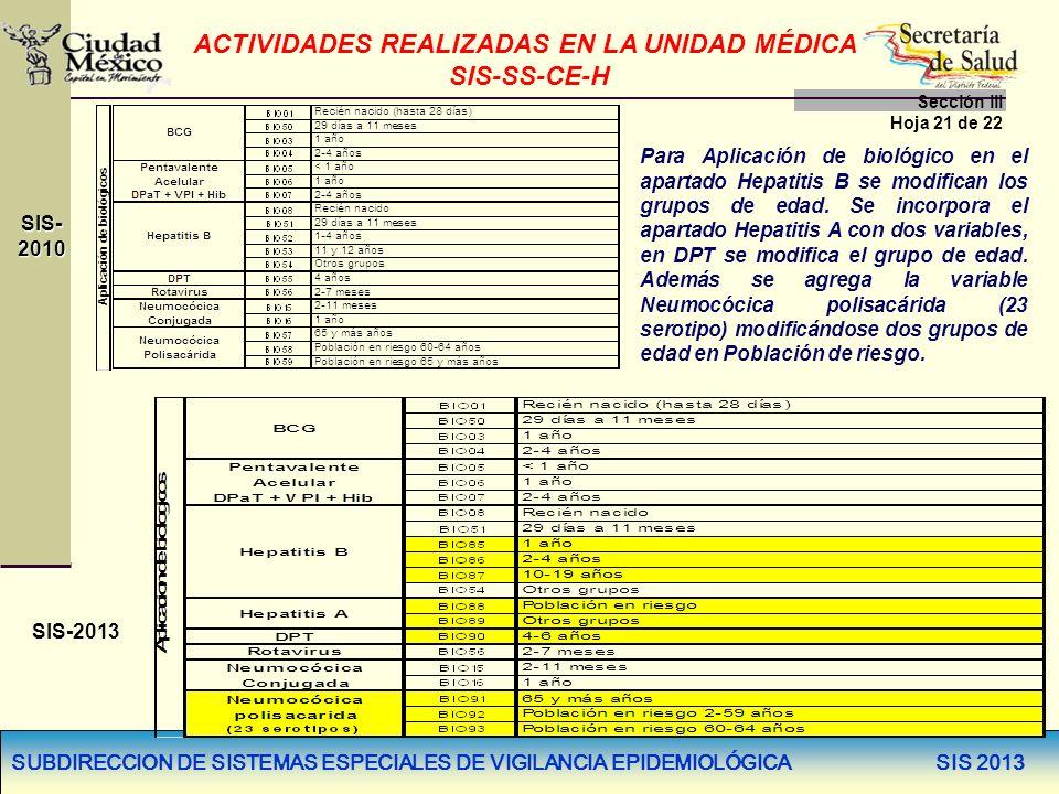 SUBDIRECCION DE SISTEMAS ESPECIALES DE VIGILANCIA EPIDEMIOLÓGICA SIS 2013 ACTIVIDADES REALIZADAS EN LA UNIDAD MÉDICA SIS-SS-CE-H Sección llI Hoja 21 d