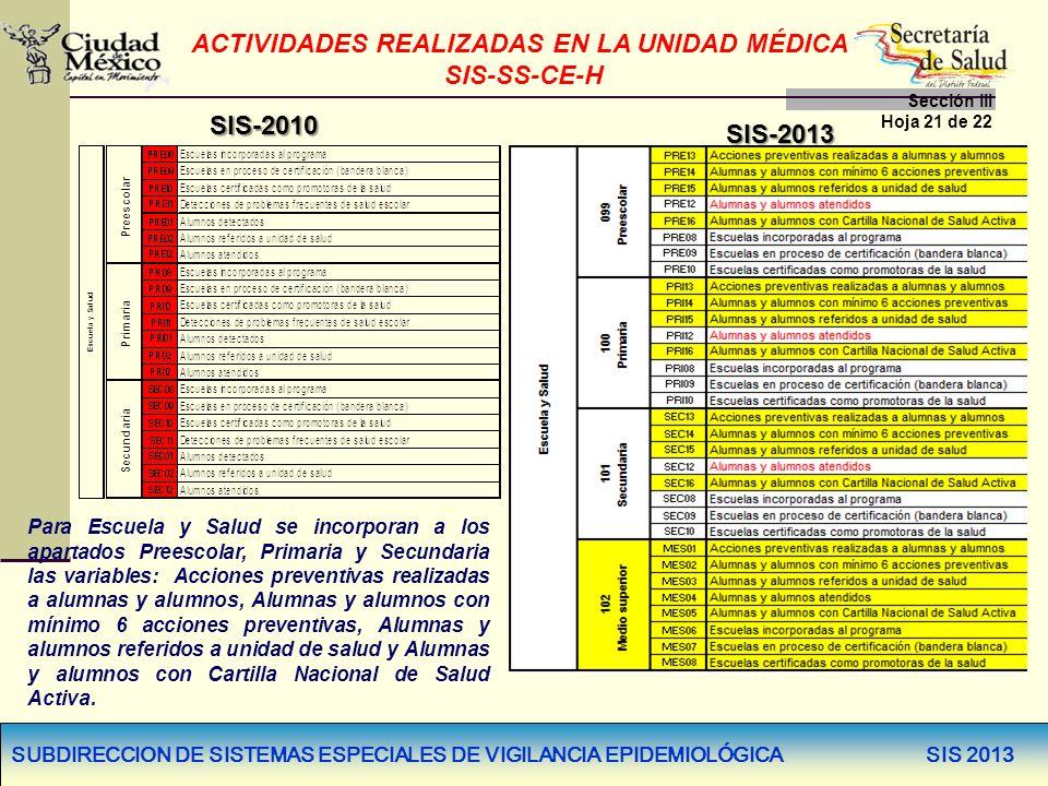 SUBDIRECCION DE SISTEMAS ESPECIALES DE VIGILANCIA EPIDEMIOLÓGICA SIS 2013 SIS-2010 SIS-2013 Para Escuela y Salud se incorporan a los apartados Preesco