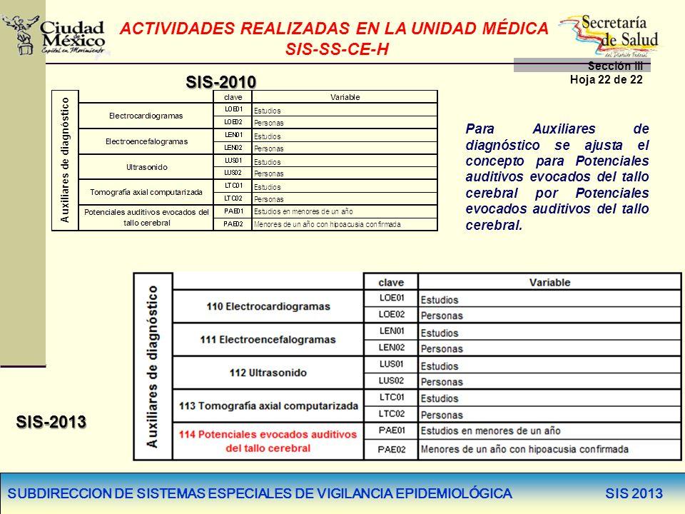 SUBDIRECCION DE SISTEMAS ESPECIALES DE VIGILANCIA EPIDEMIOLÓGICA SIS 2013 SIS-2010 SIS-2013 Para Auxiliares de diagnóstico se ajusta el concepto para