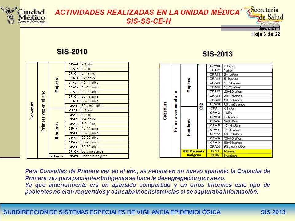SUBDIRECCION DE SISTEMAS ESPECIALES DE VIGILANCIA EPIDEMIOLÓGICA SIS 2013 Para Consultas de Primera vez en el año, se separa en un nuevo apartado la C