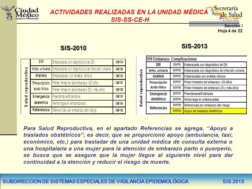 SUBDIRECCION DE SISTEMAS ESPECIALES DE VIGILANCIA EPIDEMIOLÓGICA SIS 2013 Para Salud Reproductiva, en el apartado Referencias se agrega, Apoyo a trasl
