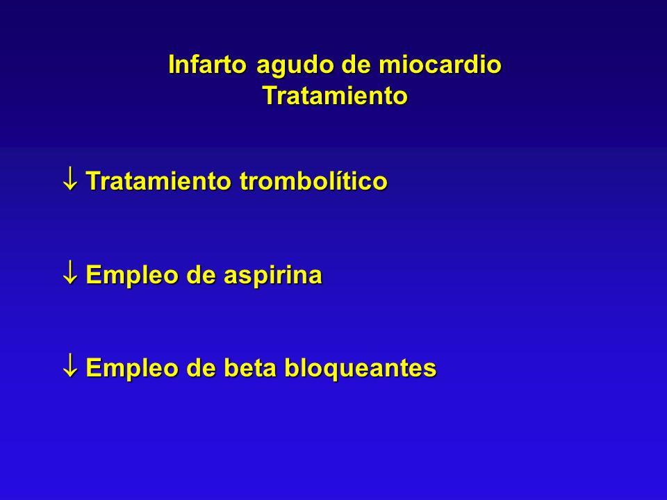 Infarto agudo de miocardio Tratamiento Tratamiento trombolítico Tratamiento trombolítico Empleo de aspirina Empleo de aspirina Empleo de beta bloquean
