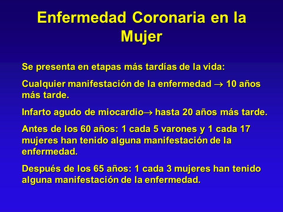 Enfermedad Coronaria en la Mujer Se presenta en etapas más tardías de la vida: Cualquier manifestación de la enfermedad 10 años más tarde. Infarto agu