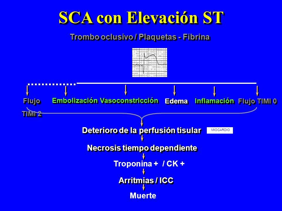SCA con Elevación ST Trombo oclusivo / Plaquetas - Fibrina EmbolizaciónEmbolización Necrosis tiempo dependiente Flujo TIMI 2 Flujo VasoconstricciónVas