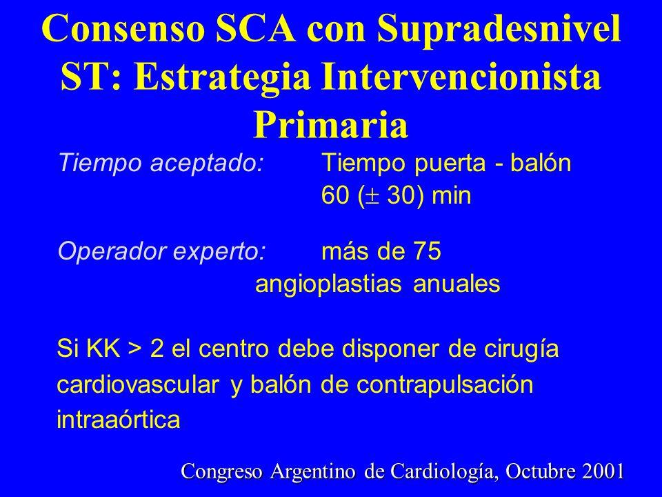 Consenso SCA con Supradesnivel ST: Estrategia Intervencionista Primaria Tiempo aceptado: Tiempo puerta - balón 60 ( 30) min Operador experto:más de 75
