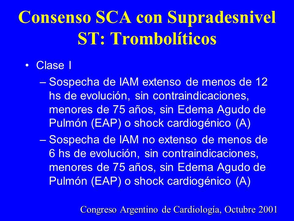 Consenso SCA con Supradesnivel ST: Trombolíticos Clase I –Sospecha de IAM extenso de menos de 12 hs de evolución, sin contraindicaciones, menores de 7