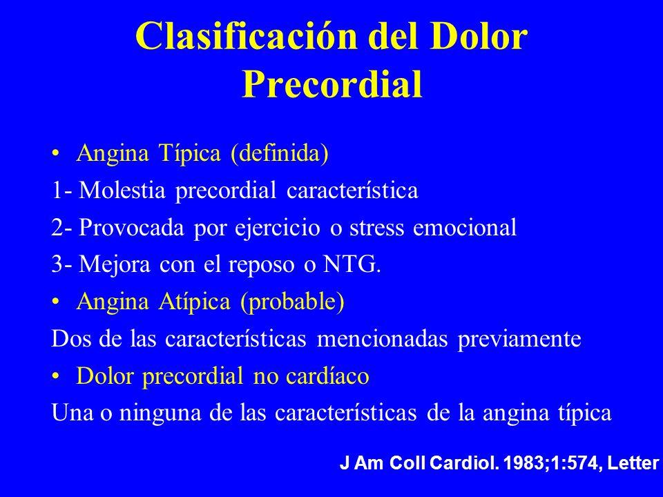 Clasificación del Dolor Precordial Angina Típica (definida) 1- Molestia precordial característica 2- Provocada por ejercicio o stress emocional 3- Mej