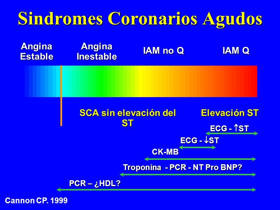 Sindromes Coronarios Agudos AnginaEstableAnginaInestable IAM no Q IAM Q Elevación ST SCA sin elevación del ST ECG - ST CK-MB Troponina - PCR - NT Pro