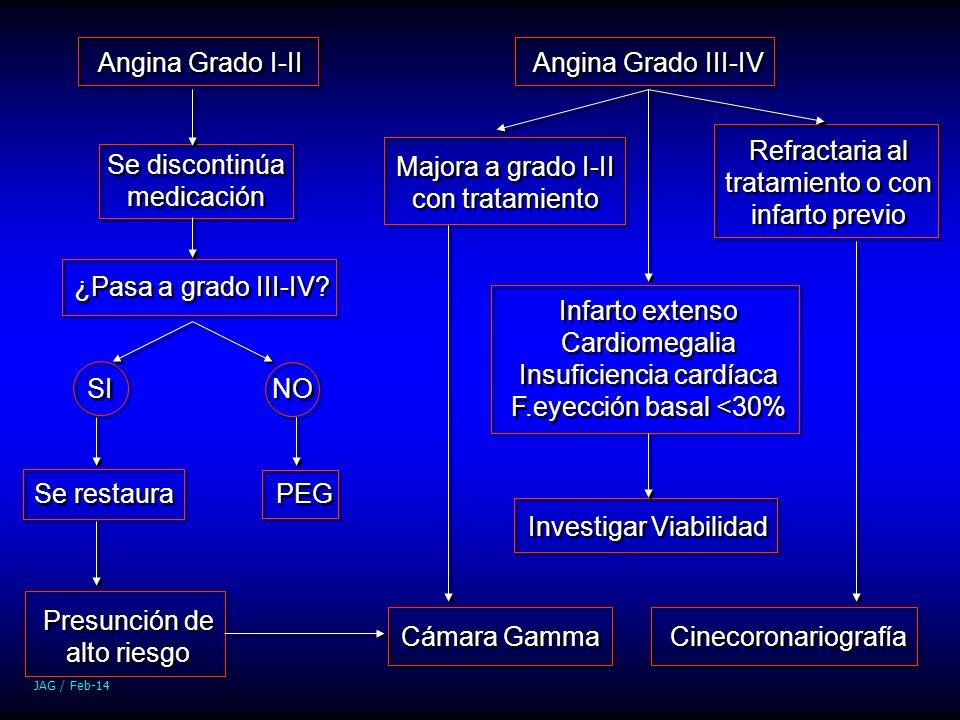 JAG / Feb-14 Angina Grado I-II Angina Grado III-IV Se discontinúa medicación ¿Pasa a grado III-IV? SI NO PEG Se restaura Presunción de alto riesgo Cám