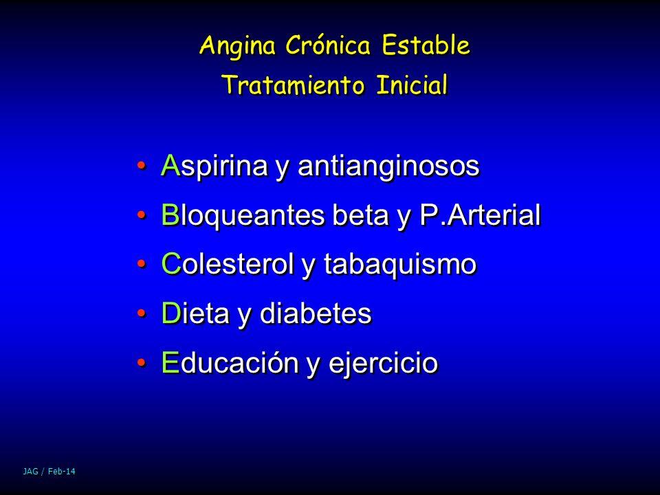 JAG / Feb-14 Aspirina y antianginosos Bloqueantes beta y P.Arterial Colesterol y tabaquismo Dieta y diabetes Educación y ejercicio Aspirina y antiangi