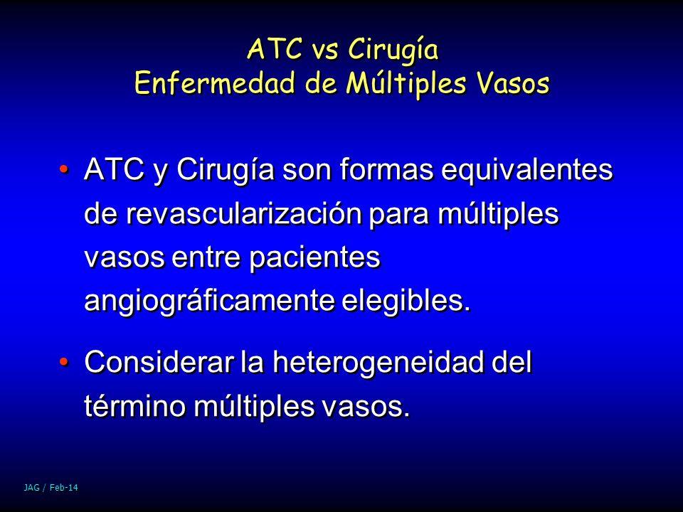 JAG / Feb-14 ATC vs Cirugía Enfermedad de Múltiples Vasos ATC y Cirugía son formas equivalentes de revascularización para múltiples vasos entre pacien