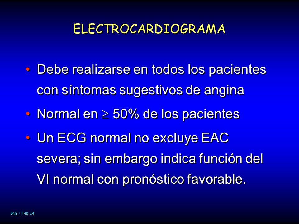 JAG / Feb-14 ELECTROCARDIOGRAMA Debe realizarse en todos los pacientes con síntomas sugestivos de angina Normal en 50% de los pacientes Un ECG normal