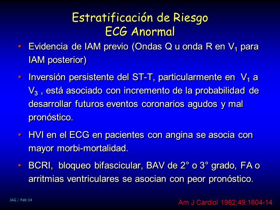JAG / Feb-14 Estratificación de Riesgo ECG Anormal Evidencia de IAM previo (Ondas Q u onda R en V 1 para IAM posterior) Inversión persistente del ST-T
