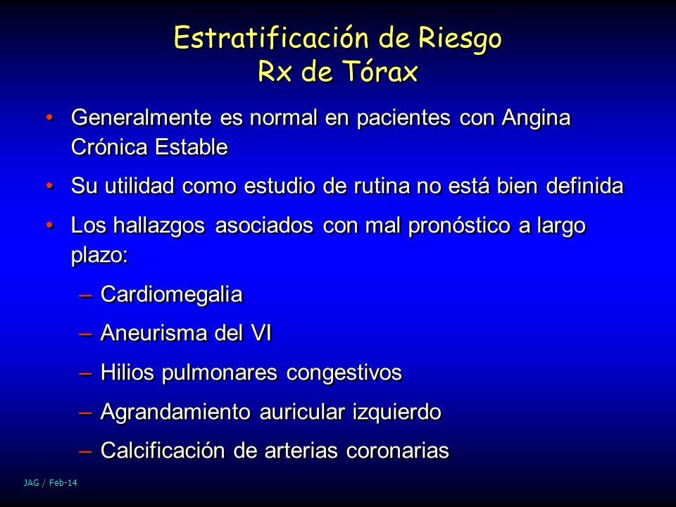 JAG / Feb-14 Estratificación de Riesgo Rx de Tórax Generalmente es normal en pacientes con Angina Crónica Estable Su utilidad como estudio de rutina n