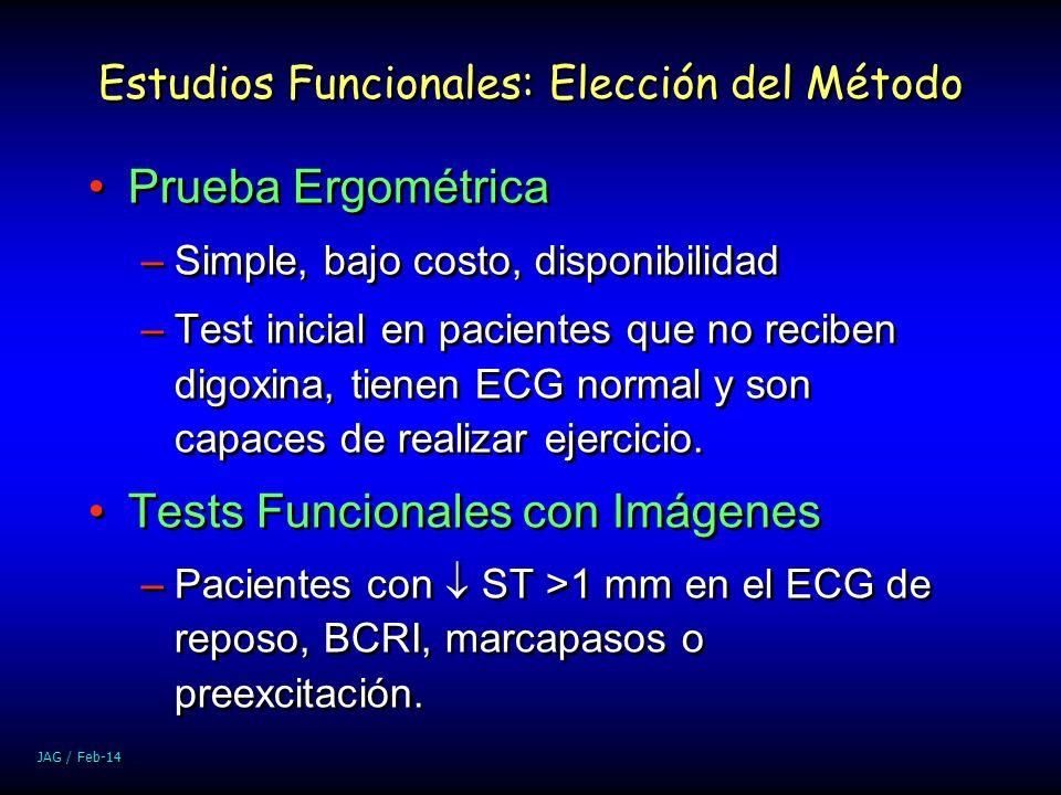 JAG / Feb-14 Estudios Funcionales: Elección del Método Prueba Ergométrica –Simple, bajo costo, disponibilidad –Test inicial en pacientes que no recibe