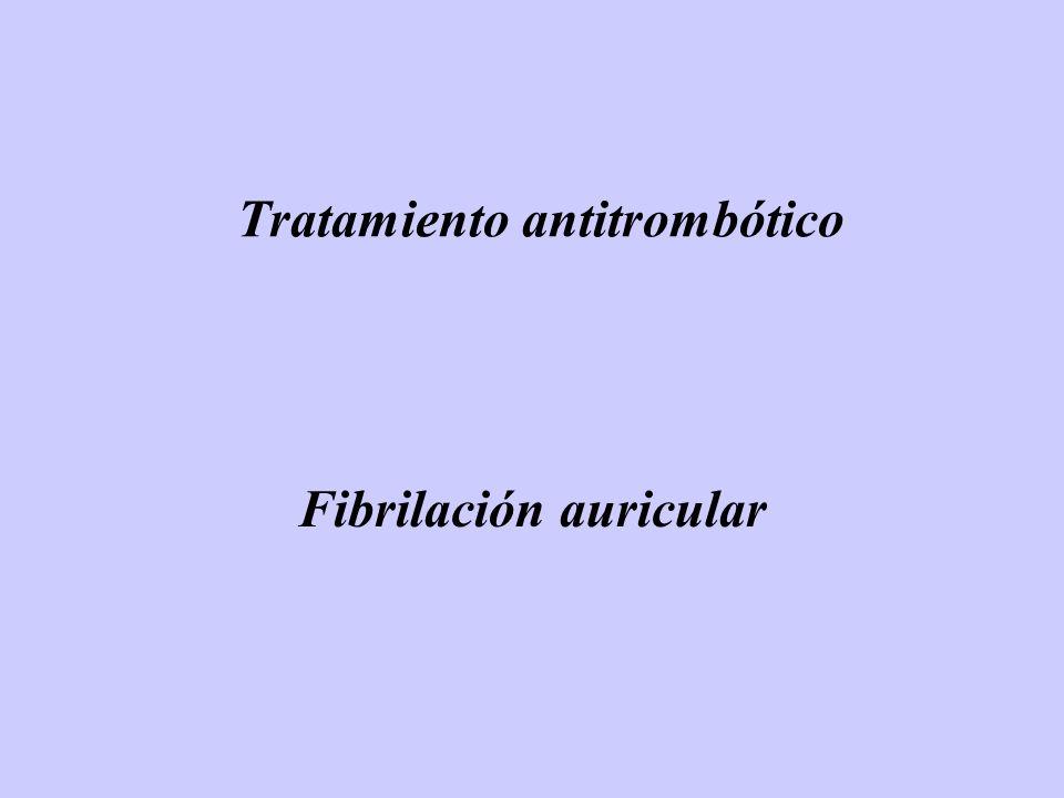 Warfarina Ximelagatran Intent-to-Treat Absoluto 0.45% anual en rama ximelagatran (95% CI -0.13-1.03, p=0.13) cumple hipótesis no-inferioridad AHA 2003 Late Breaking Trials TasaEventos (% por año) Analisis on-treatment : Absoluto 0.55% anual en rama ximelagatran 95% CI -0.06-1.16 p=0.089 SSPORTIF V : ACV ( isquémico + hemorrágico ) + Embolia sistémica mayor