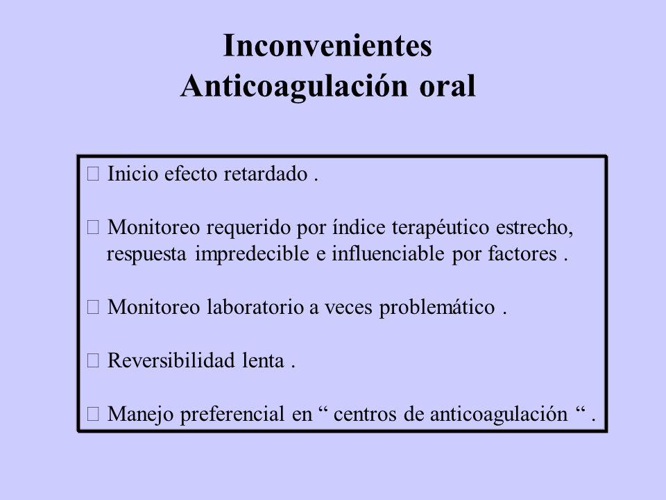 Inconvenientes Anticoagulación oral Inicio efecto retardado. Monitoreo requerido por índice terapéutico estrecho, respuesta impredecible e influenciab