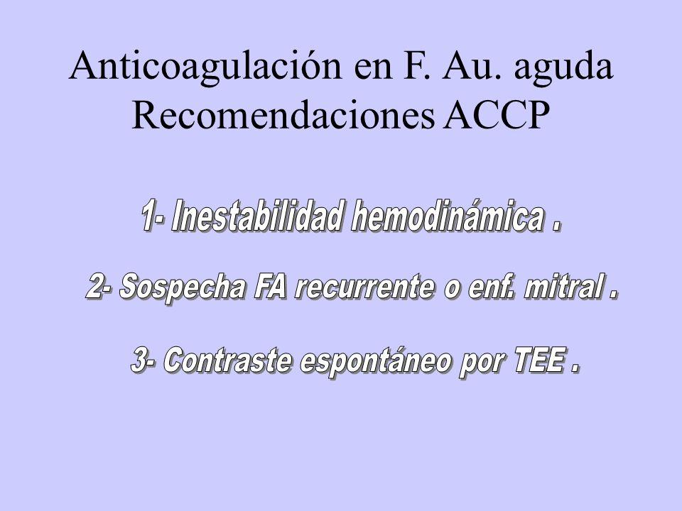 Anticoagulación en F. Au. aguda Recomendaciones ACCP