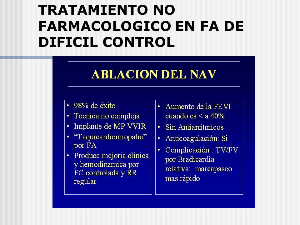 TRATAMIENTO NO FARMACOLOGICO EN FA DE DIFICIL CONTROL