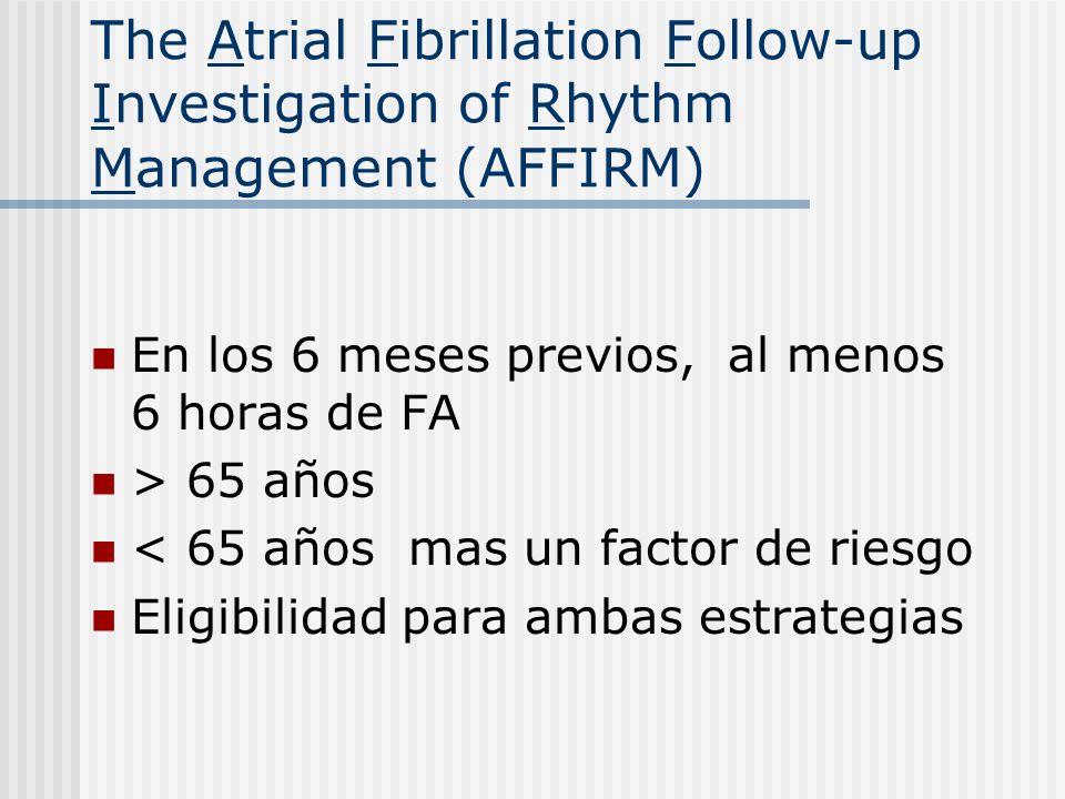 The Atrial Fibrillation Follow-up Investigation of Rhythm Management (AFFIRM) En los 6 meses previos, al menos 6 horas de FA > 65 años < 65 años mas u