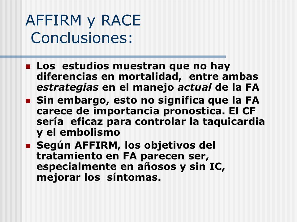 AFFIRM y RACE Conclusiones: estrategiasactual Los estudios muestran que no hay diferencias en mortalidad, entre ambas estrategias en el manejo actual
