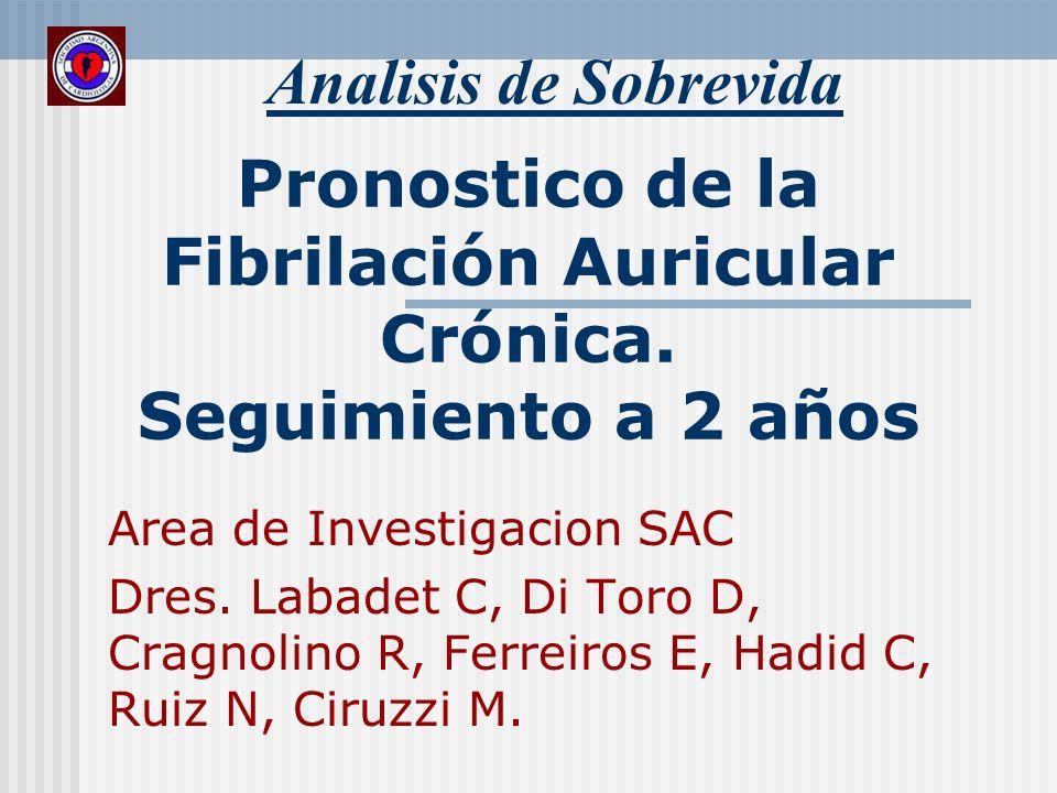 Pronostico de la Fibrilación Auricular Crónica. Seguimiento a 2 años Analisis de Sobrevida Area de Investigacion SAC Dres. Labadet C, Di Toro D, Cragn