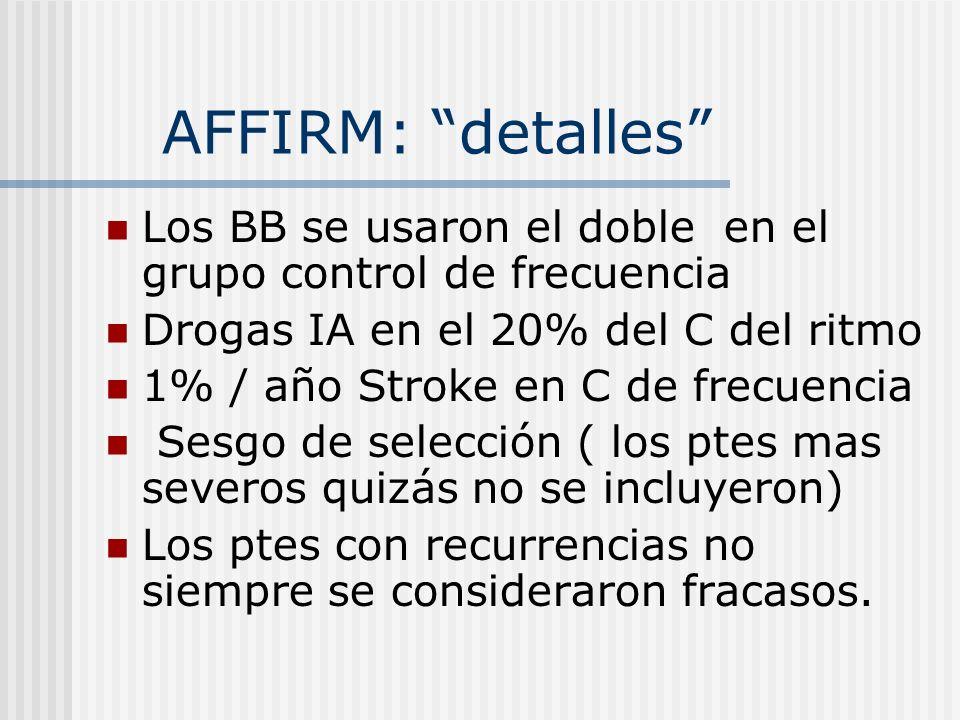 AFFIRM: detalles Los BB se usaron el doble en el grupo control de frecuencia Drogas IA en el 20% del C del ritmo 1% / año Stroke en C de frecuencia Se