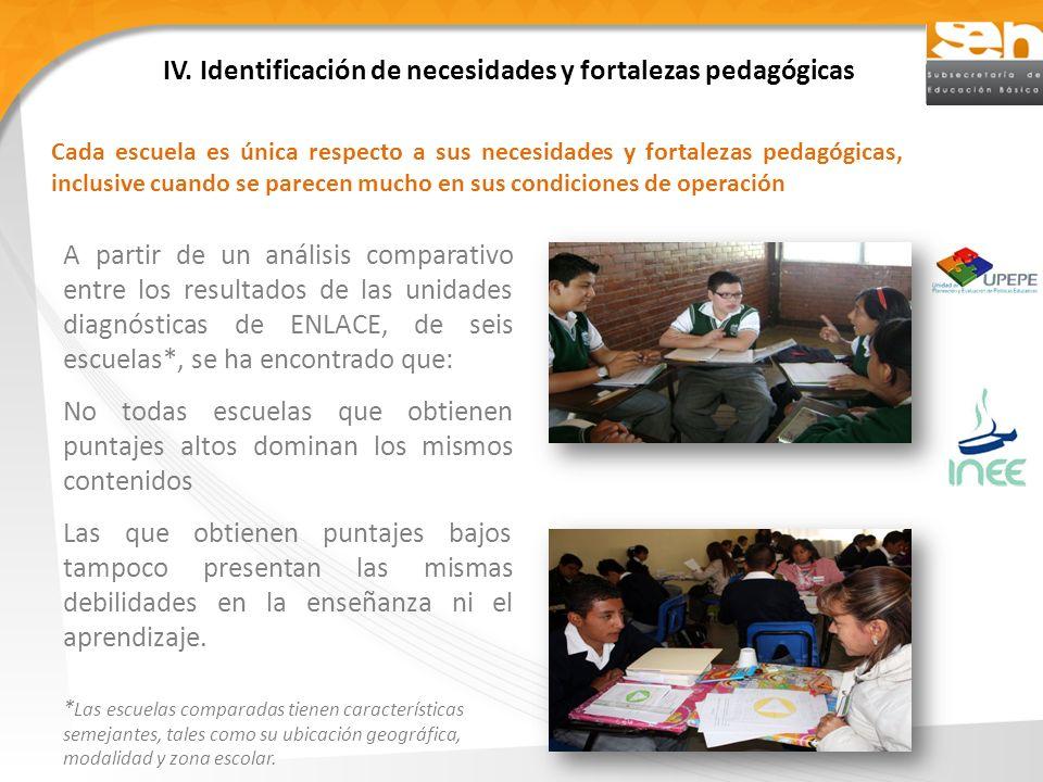 IV. Identificación de necesidades y fortalezas pedagógicas A partir de un análisis comparativo entre los resultados de las unidades diagnósticas de EN