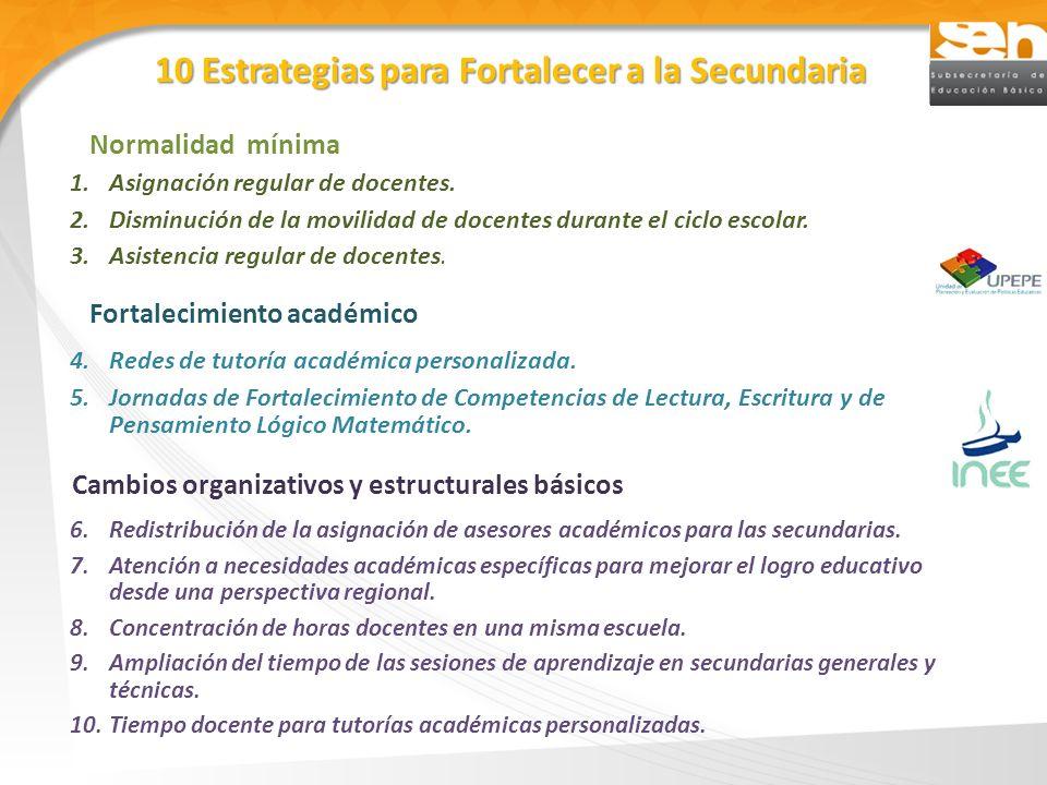10 Estrategias para Fortalecer a la Secundaria 1.Asignación regular de docentes. 2.Disminución de la movilidad de docentes durante el ciclo escolar. 3