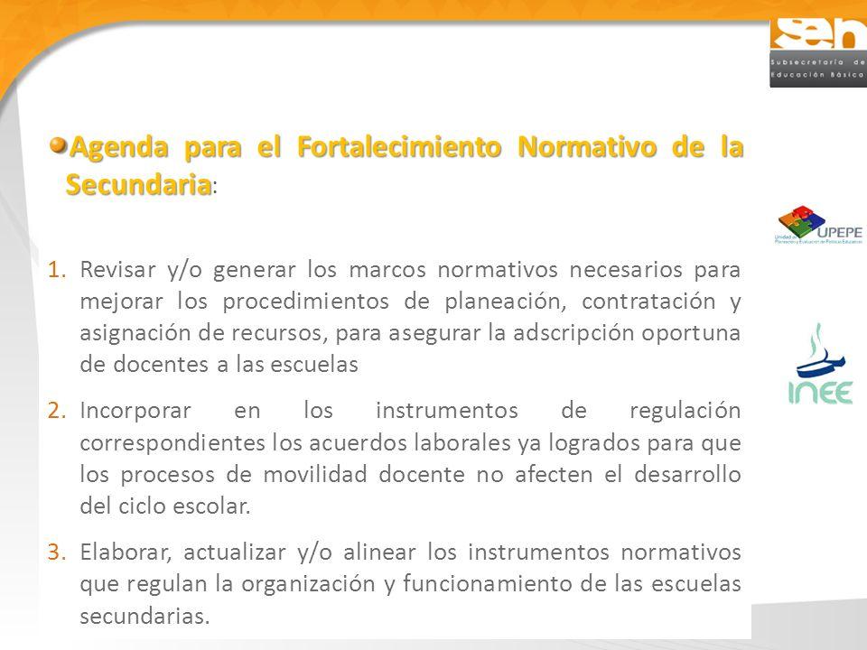 Agenda para el Fortalecimiento Normativo de la Secundaria Agenda para el Fortalecimiento Normativo de la Secundaria : 1.Revisar y/o generar los marcos