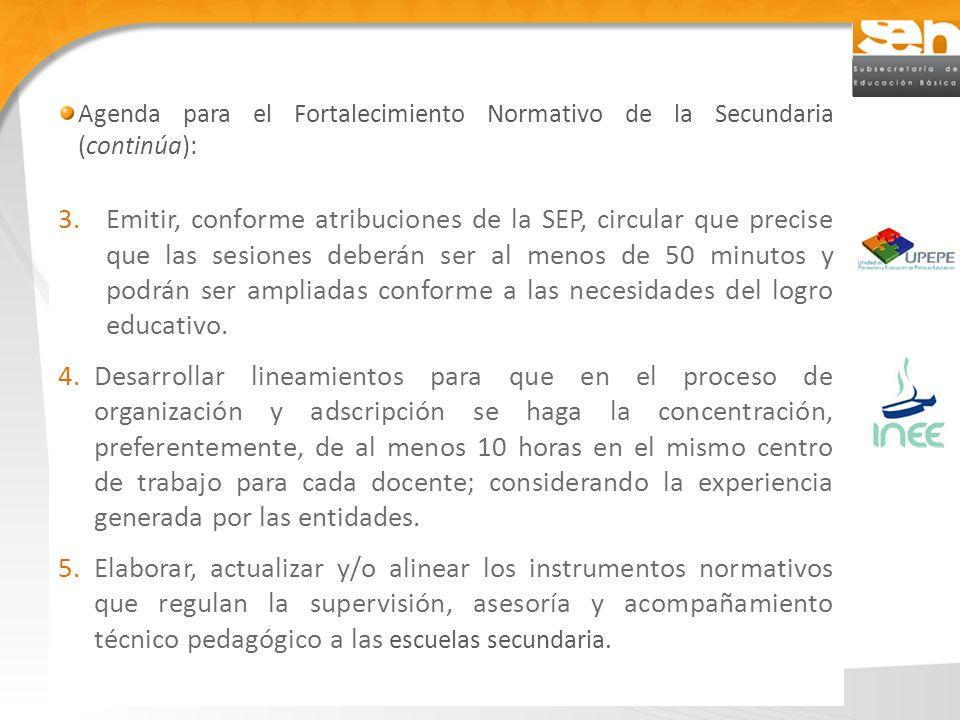 Agenda para el Fortalecimiento Normativo de la Secundaria (continúa): 3.Emitir, conforme atribuciones de la SEP, circular que precise que las sesiones