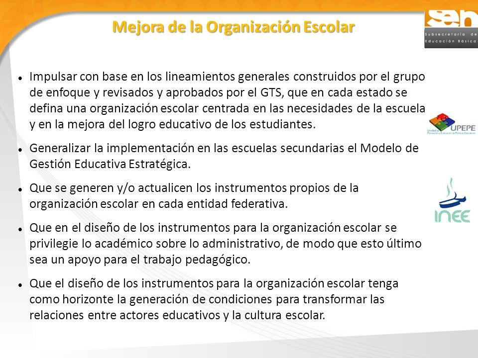 Mejora de la Organización Escolar Impulsar con base en los lineamientos generales construidos por el grupo de enfoque y revisados y aprobados por el G