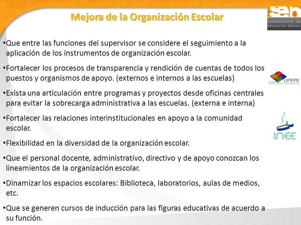 Que entre las funciones del supervisor se considere el seguimiento a la aplicación de los instrumentos de organización escolar. Fortalecer los proceso