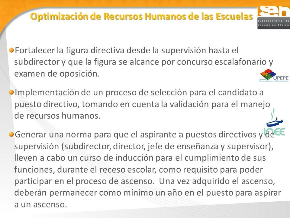 Optimización de Recursos Humanos de las Escuelas Fortalecer la figura directiva desde la supervisión hasta el subdirector y que la figura se alcance p