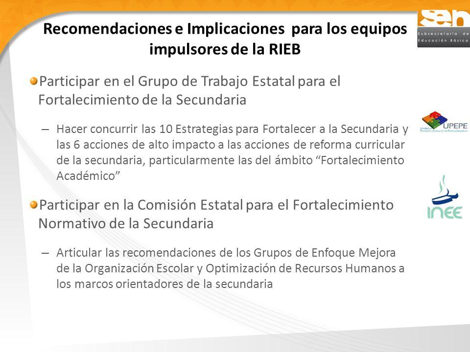 Recomendaciones e Implicaciones para los equipos impulsores de la RIEB Participar en el Grupo de Trabajo Estatal para el Fortalecimiento de la Secunda