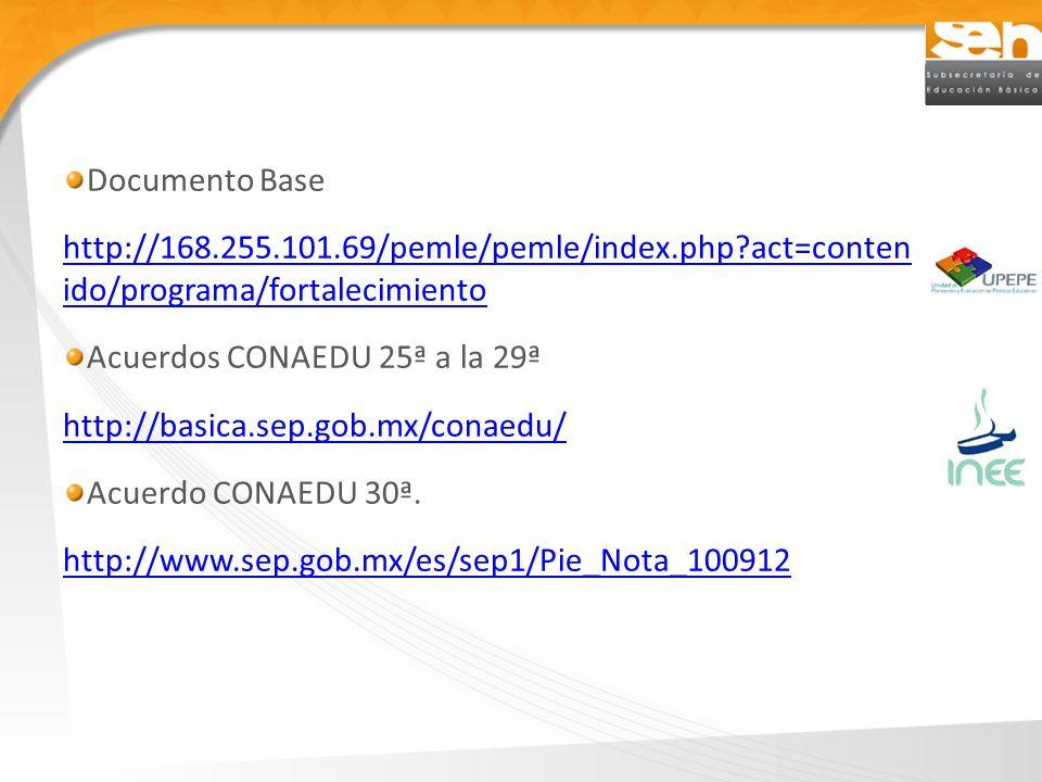 Documento Base http://168.255.101.69/pemle/pemle/index.php?act=conten ido/programa/fortalecimiento Acuerdos CONAEDU 25ª a la 29ª http://basica.sep.gob