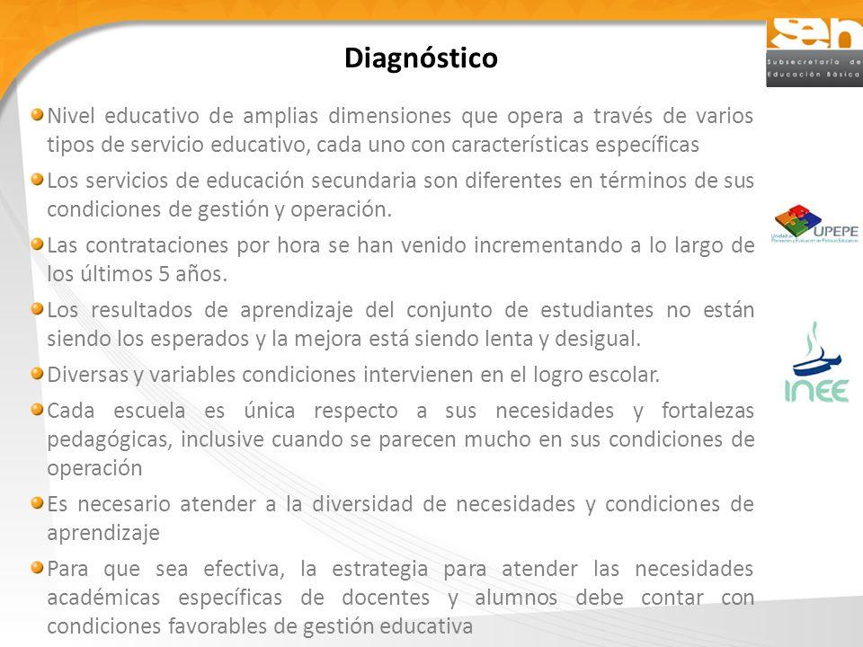 Diagnóstico Nivel educativo de amplias dimensiones que opera a través de varios tipos de servicio educativo, cada uno con características específicas