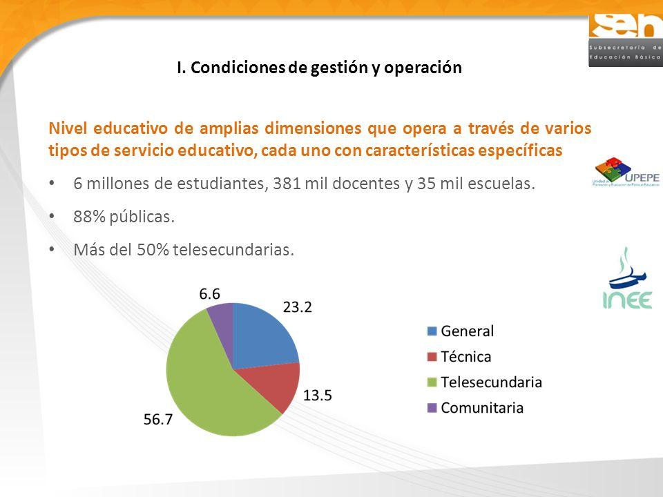 I. Condiciones de gestión y operación Nivel educativo de amplias dimensiones que opera a través de varios tipos de servicio educativo, cada uno con ca