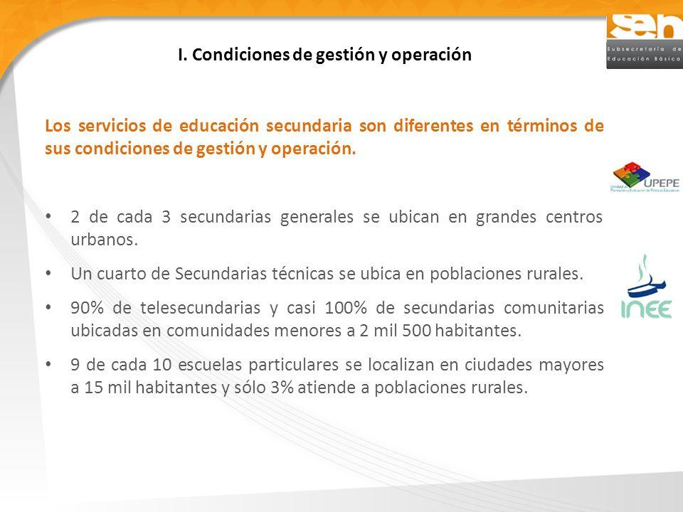 I. Condiciones de gestión y operación Los servicios de educación secundaria son diferentes en términos de sus condiciones de gestión y operación. 2 de