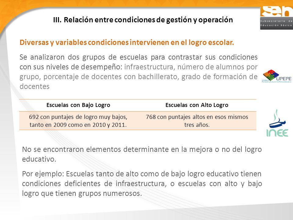 III. Relación entre condiciones de gestión y operación Diversas y variables condiciones intervienen en el logro escolar. Se analizaron dos grupos de e