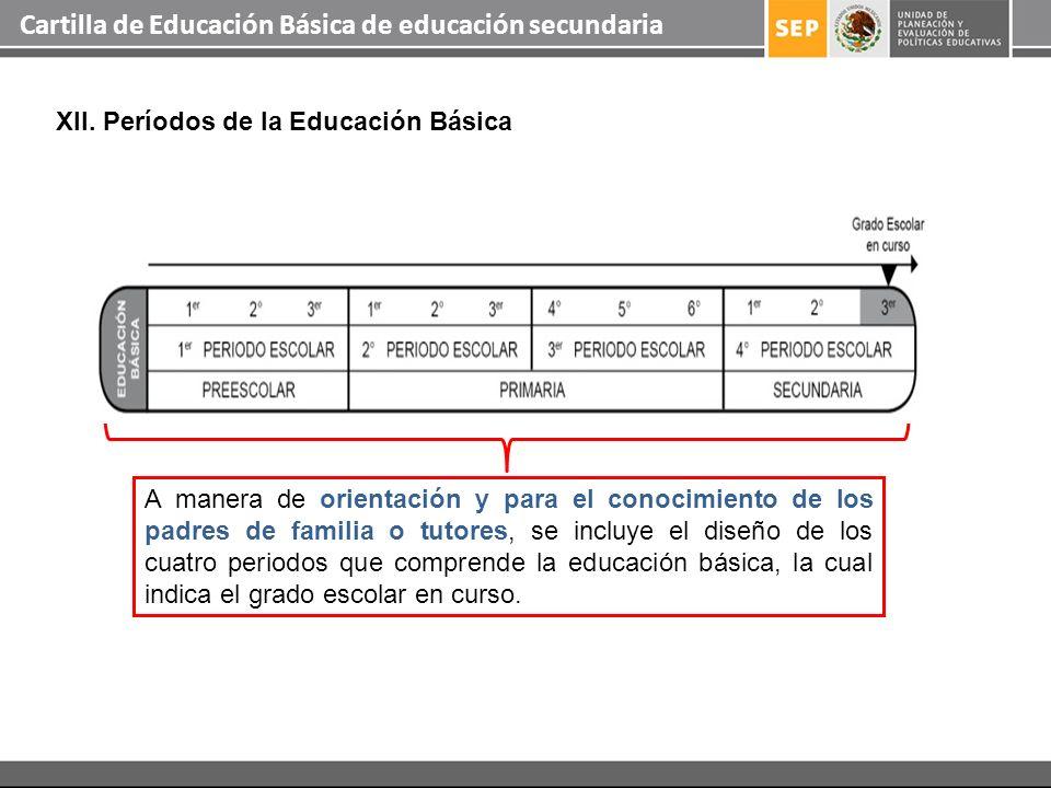 Cartilla de Educación Básica de educación secundaria XII. Períodos de la Educación Básica A manera de orientación y para el conocimiento de los padres