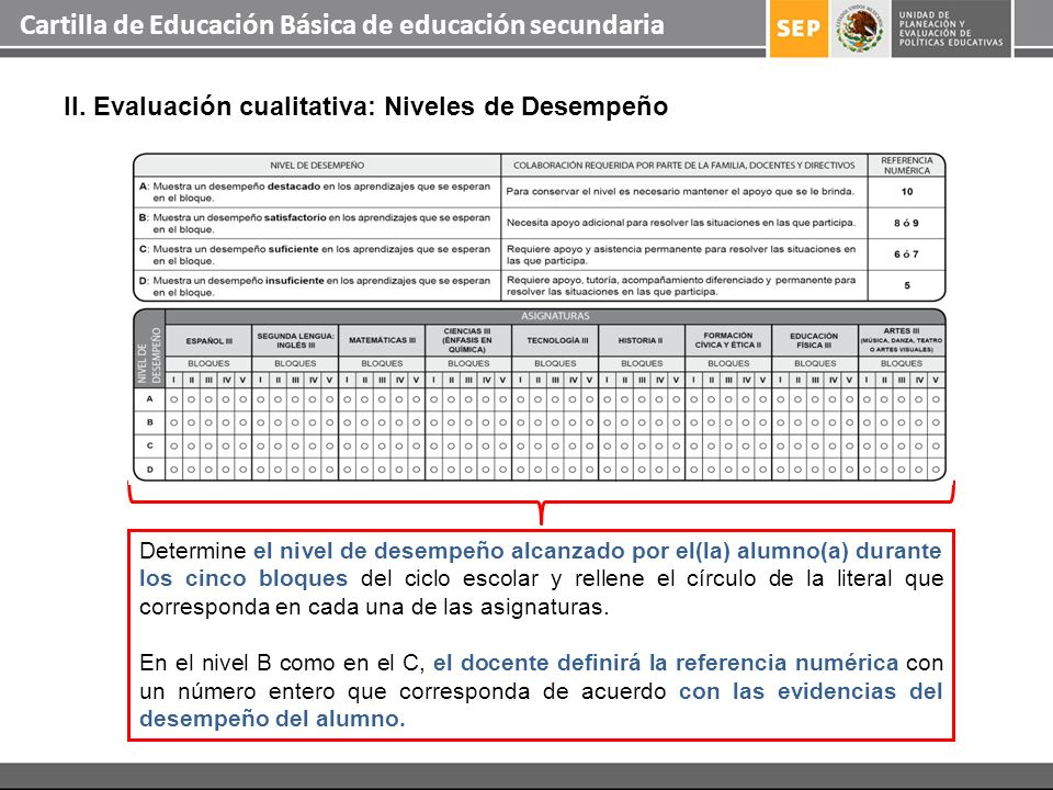 Cartilla de Educación Básica de educación secundaria II. Evaluación cualitativa: Niveles de Desempeño Determine el nivel de desempeño alcanzado por el