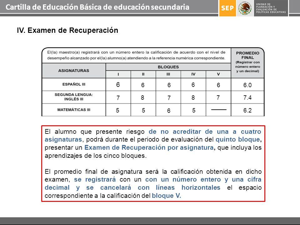 Cartilla de Educación Básica de educación secundaria IV. Examen de Recuperación El alumno que presente riesgo de no acreditar de una a cuatro asignatu