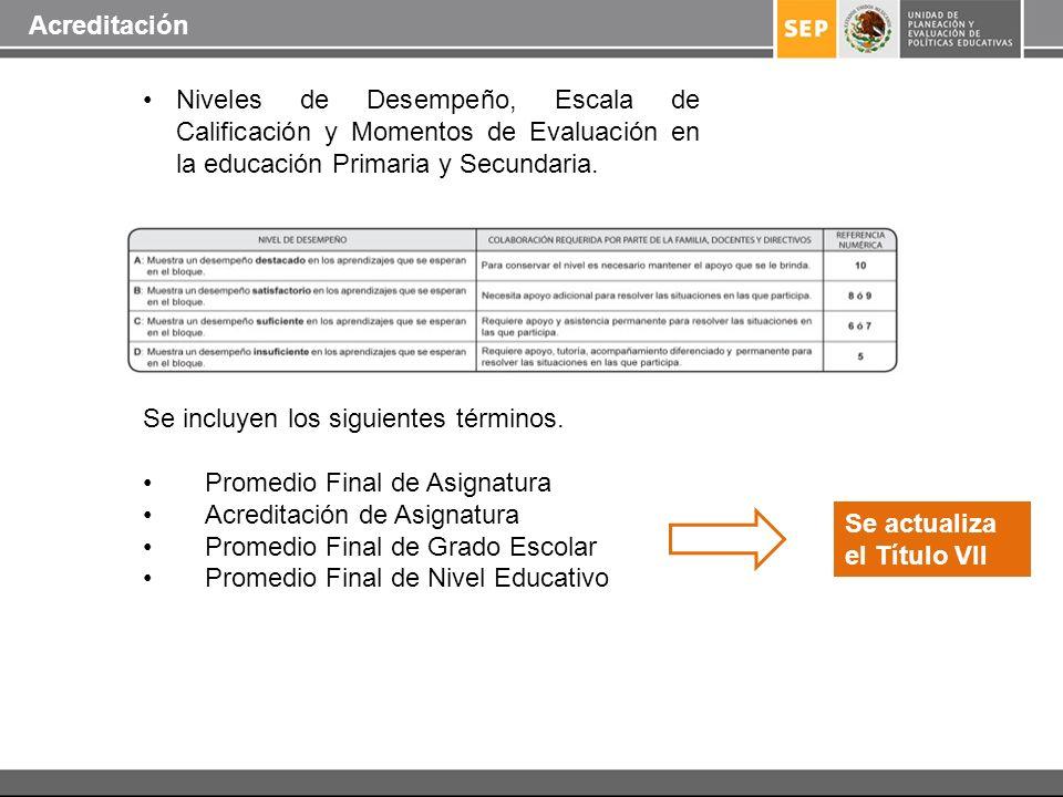 Niveles de Desempeño, Escala de Calificación y Momentos de Evaluación en la educación Primaria y Secundaria. Se incluyen los siguientes términos. Prom