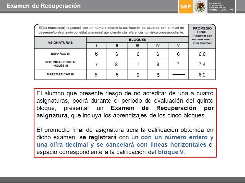 El alumno que presente riesgo de no acreditar de una a cuatro asignaturas, podrá durante el periodo de evaluación del quinto bloque, presentar un Exam